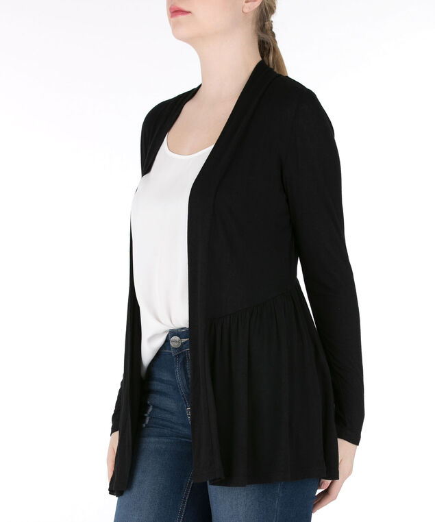 Crochet Back Open Cardigan, Black, hi-res