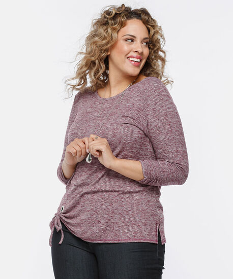 Side Tie Lightweight Knit Top, Berry Mix, hi-res