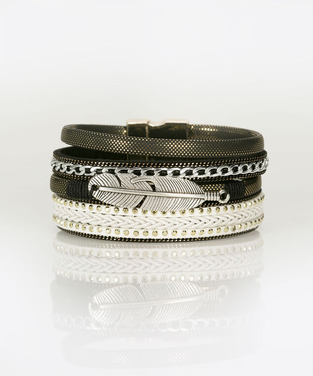 Feather Charm Braided Wrap Bracelet, Black, hi-res