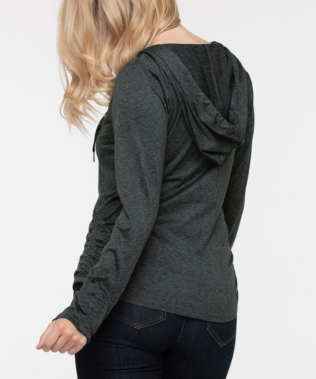 Zipper Front Ruched Hoodie, Black/Charcoal, hi-res
