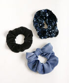 Textured Scrunchie Set, Blue Fog/True Navy/Black, hi-res