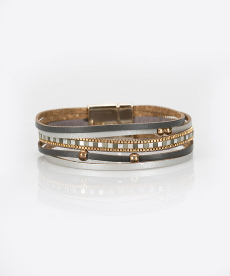 Bead & Faux Leather Wrap Bracelet, Mid Heathered Charcol/Gold, hi-res