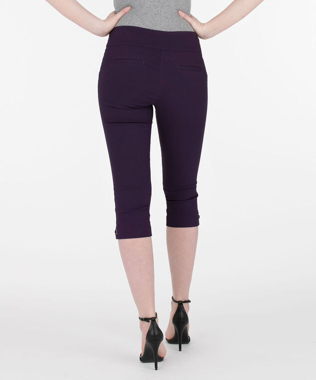 Side-Tab Microtwill Capri Pant, Deep Purple, hi-res