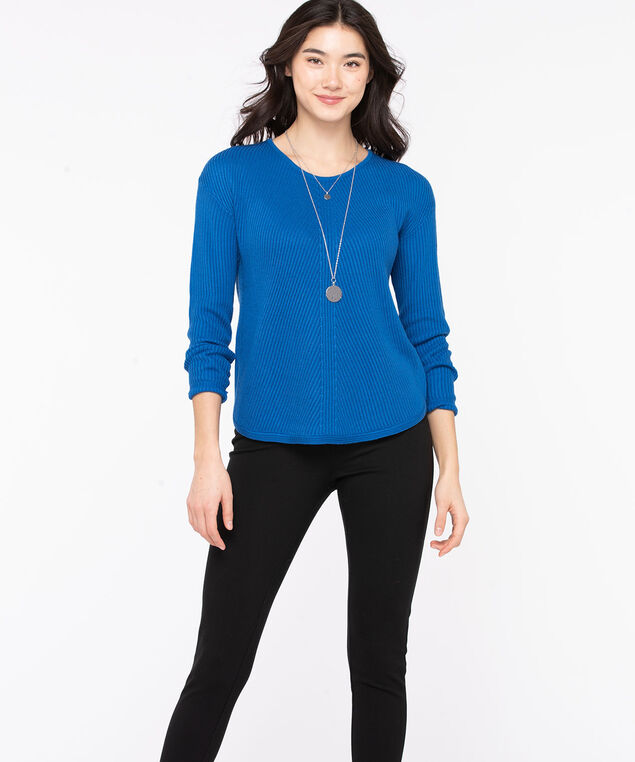 Ribbed Scoop Neck Sweater, Classic Blue, hi-res
