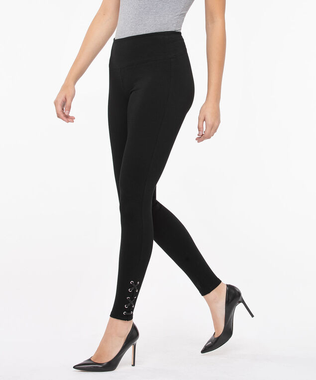 Luxe Ponte Lace Up Legging, Black, hi-res