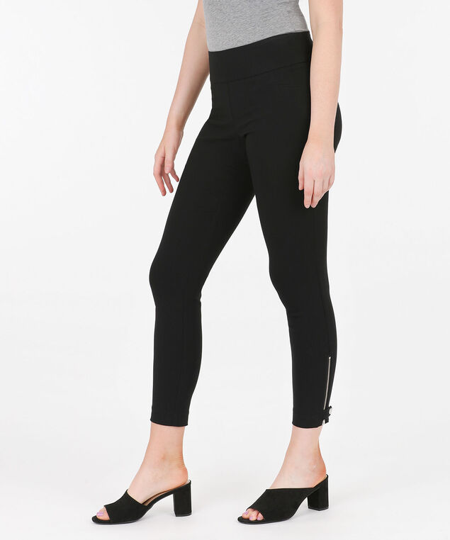 Microtwill Zipper Tab Ankle Pant, Black, hi-res