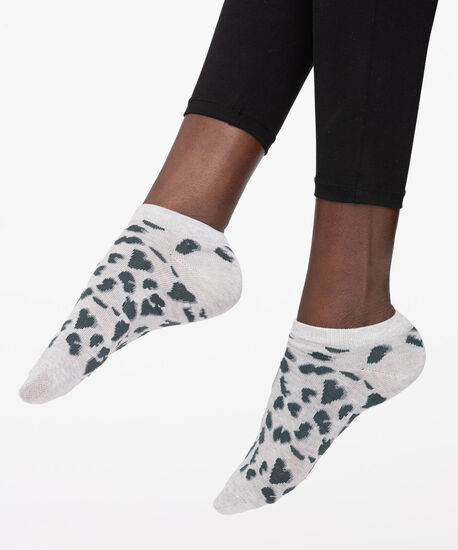 Leopard Print Ankle Socks, Grey/Dark Grey, hi-res