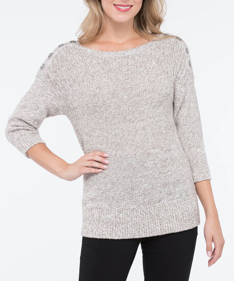 Silver Button Trim Pullover Sweater, Oatmeal Mix, hi-res