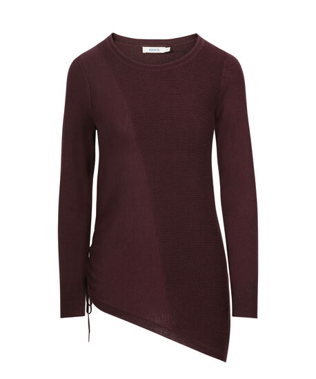 Asymmetrical Pullover Sweater, Port, hi-res