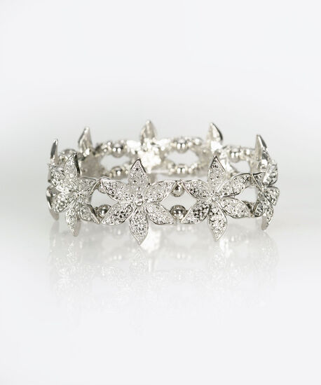 Flower & Crystal Stretch Bracelet, Rhodium/Crystal, hi-res