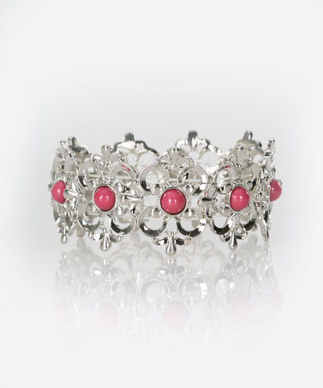 Filigree & Stone Stretch Bracelet, Rhodium/Bright Pink, hi-res