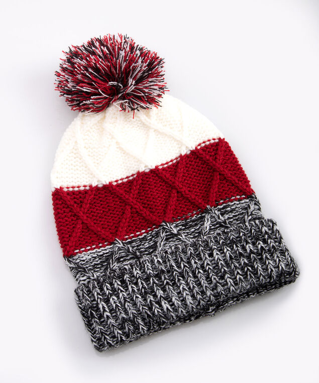 Colour Block Chunky Knit Toque, Crimson/Mid Heathered Grey/Pearl, hi-res