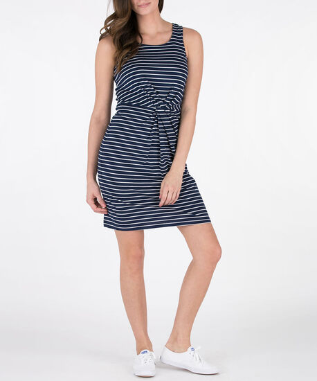 Knot-Front Sleeveless Knit Dress, Blue/White, hi-res