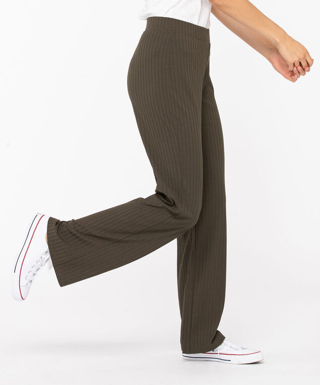 Ribbed Wide Leg Pant, Silver Olive