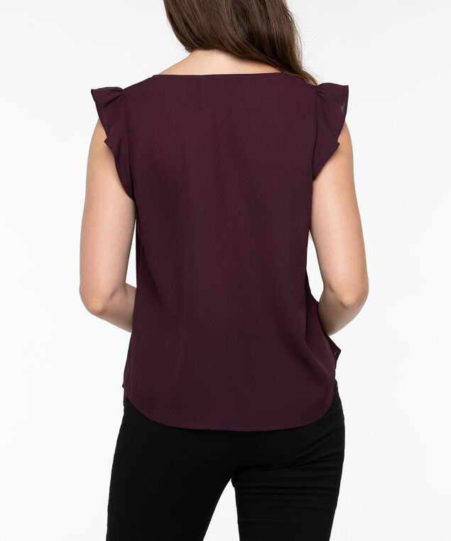 Flutter Sleeve Button Trim Blouse, Plum, hi-res