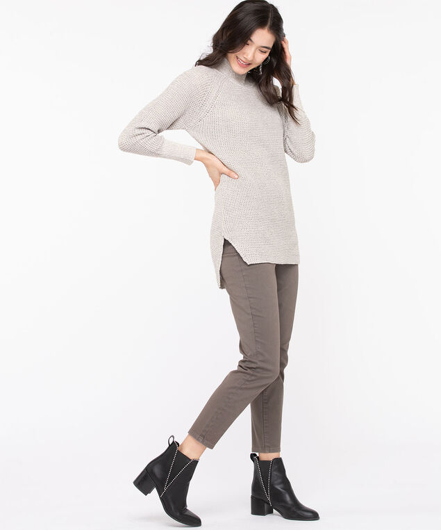 Mock Neck Tunic Sweater, Light Grey Mix