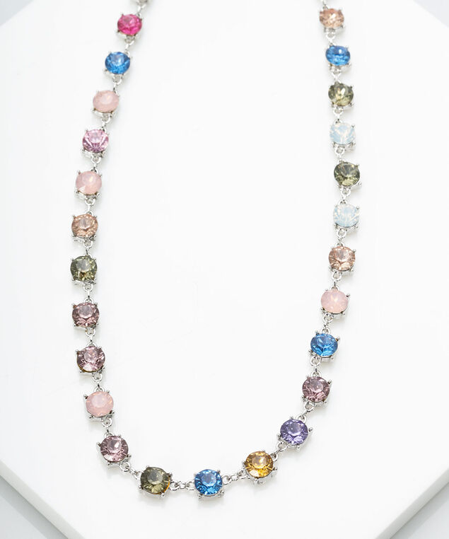 Rainbow Crystal Necklace, Multi Color