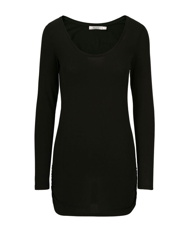 Ruched Layering Essential Top, Black, hi-res