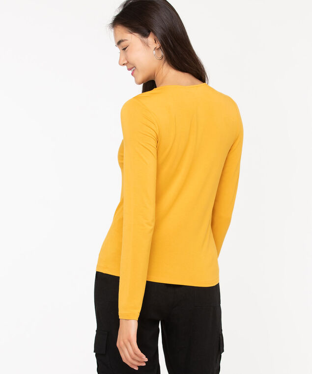 V-Neck Layering Essential Top, Harvest Yellow, hi-res