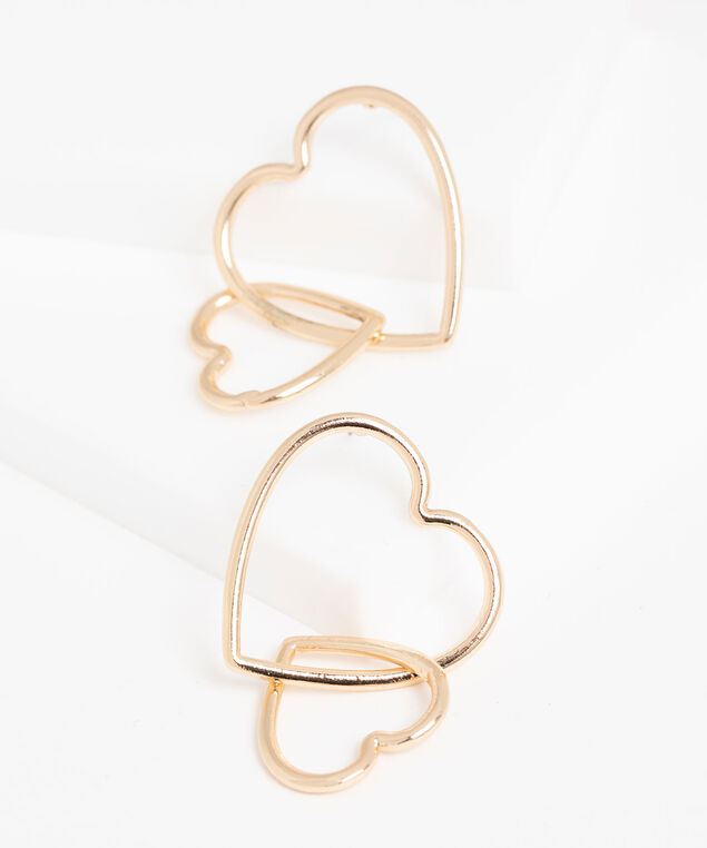 Double Dangling Heart Earring, Gold