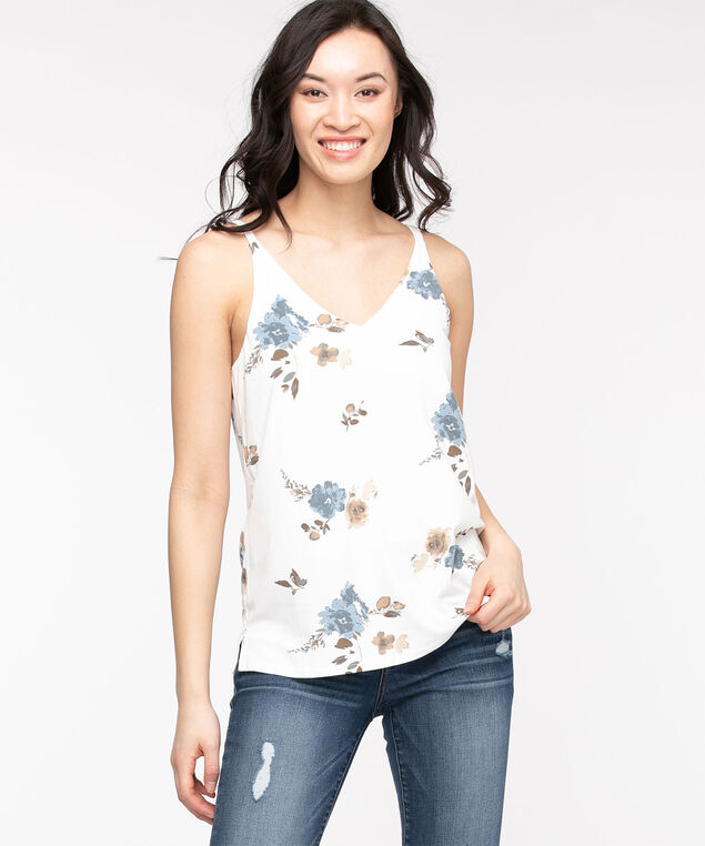 Strappy Double-V Tank, White Floral
