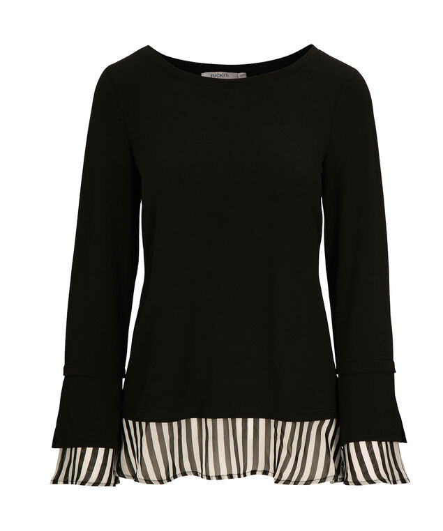 Striped Chiffon Fooler Top, Black/White, hi-res