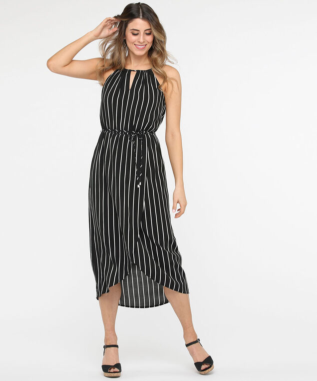 Tulip Hem Halter Maxi Dress, Black/True White, hi-res