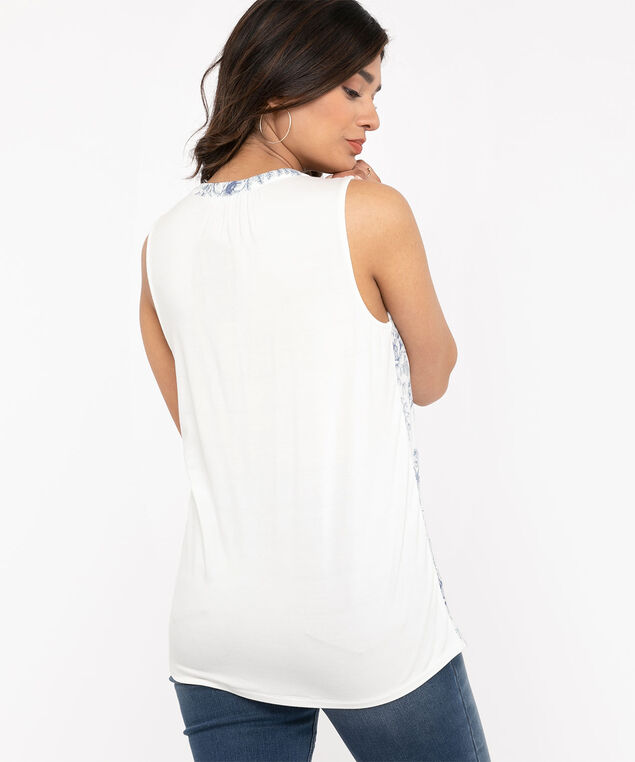 Sleeveless Ruched Button Front Top, White Delft
