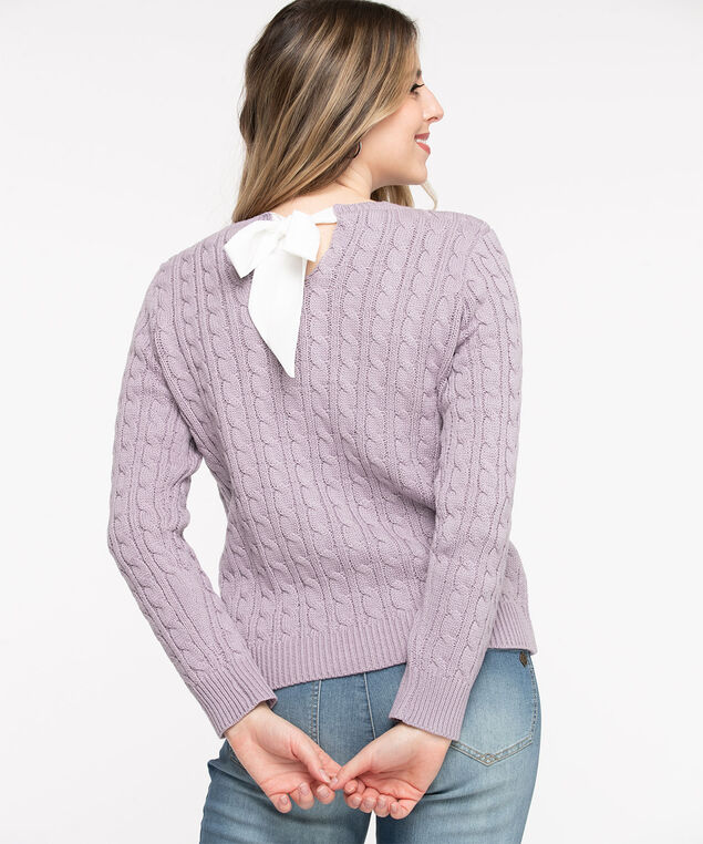 Ribbon Bow Cable Knit Sweater, Purple Ash