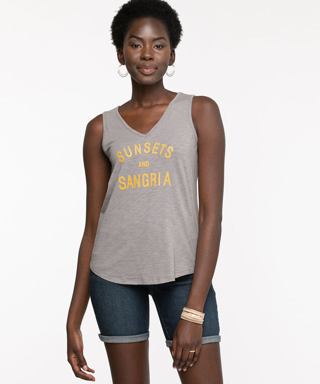 V-Neck Graphic Tank Top, Grey Sunsets