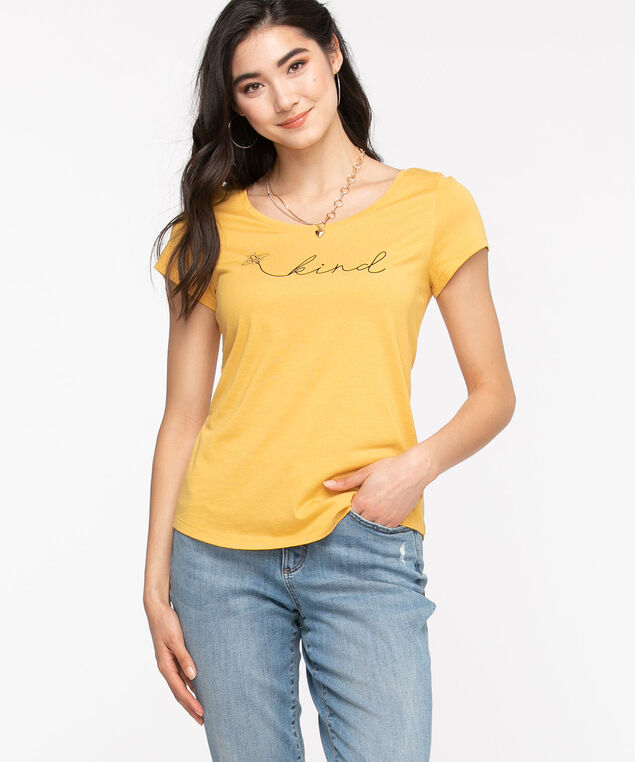 Scoop Neck Shirttail Graphic Tee, Honey Gold Bee