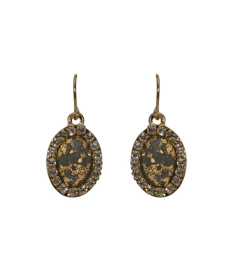 Crystal & Gold Leaf Oval Earring, Clear/Grey/Soft Gold, hi-res