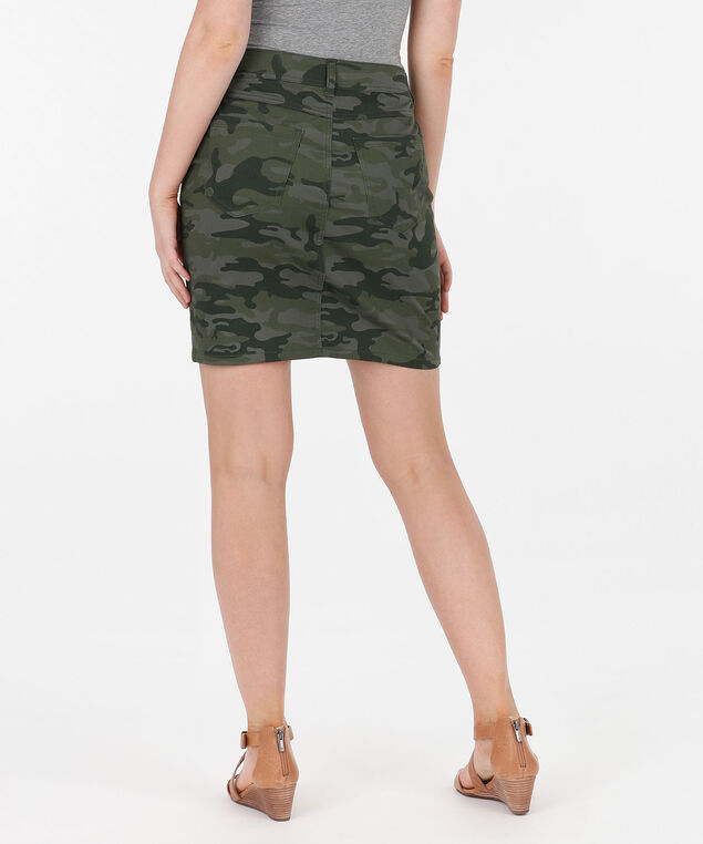 5-Pocket Camo Mini Skirt, Olive/Jade, hi-res