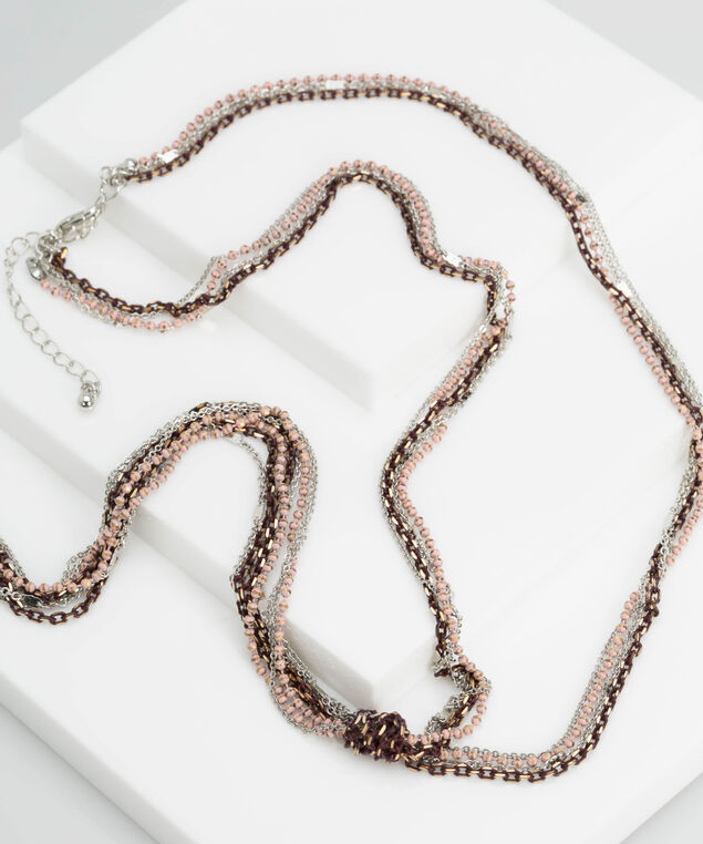 Painted Chain Knotted Necklace, Rhodium/Soft Pink/Rust/Gold, hi-res
