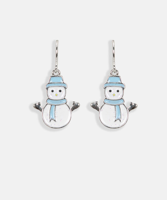 Delicate Snowman Earring, White/Light Blue/Rhodium, hi-res