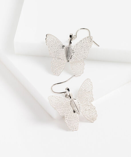 Plated Butterfly Earring, Silver, hi-res