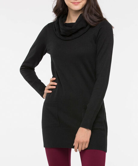 Cowl Neck Patch Pocket Tunic Sweater, Black, hi-res