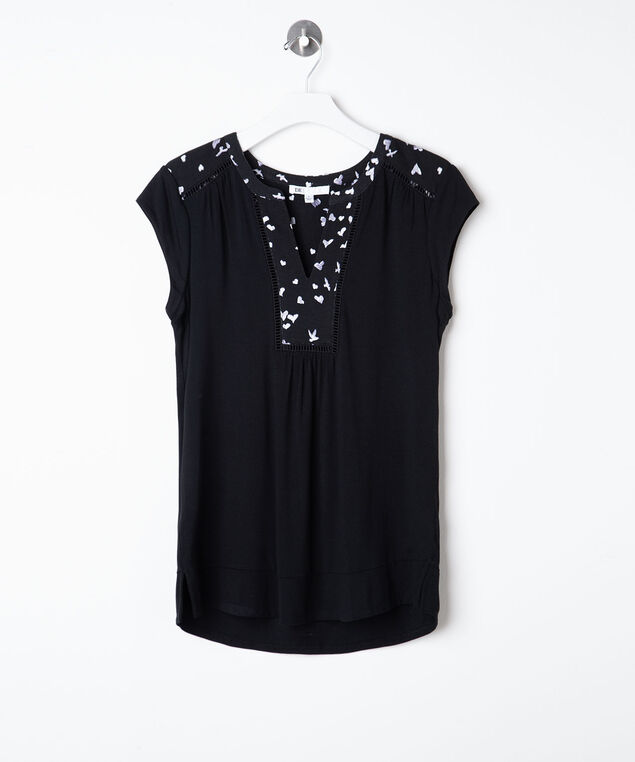 Ladder Trim V-Neck Top, Black, hi-res