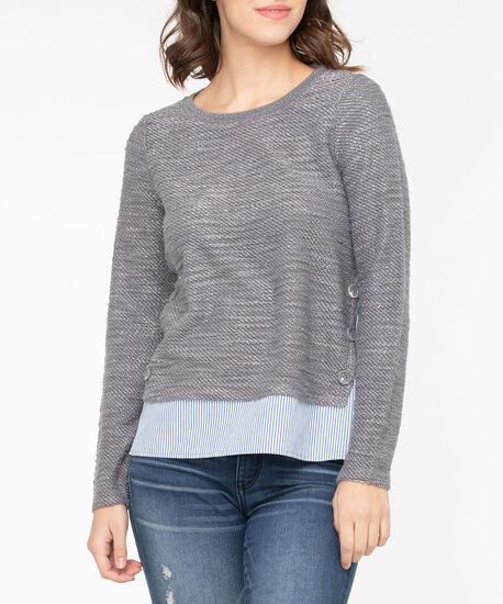 Pullover Button Trim Fooler Top, Mid Heather Grey/Light Blue/Pearl, hi-res