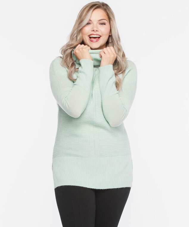 Ribbed Cowl Neck Sweater, Sea Foam, hi-res