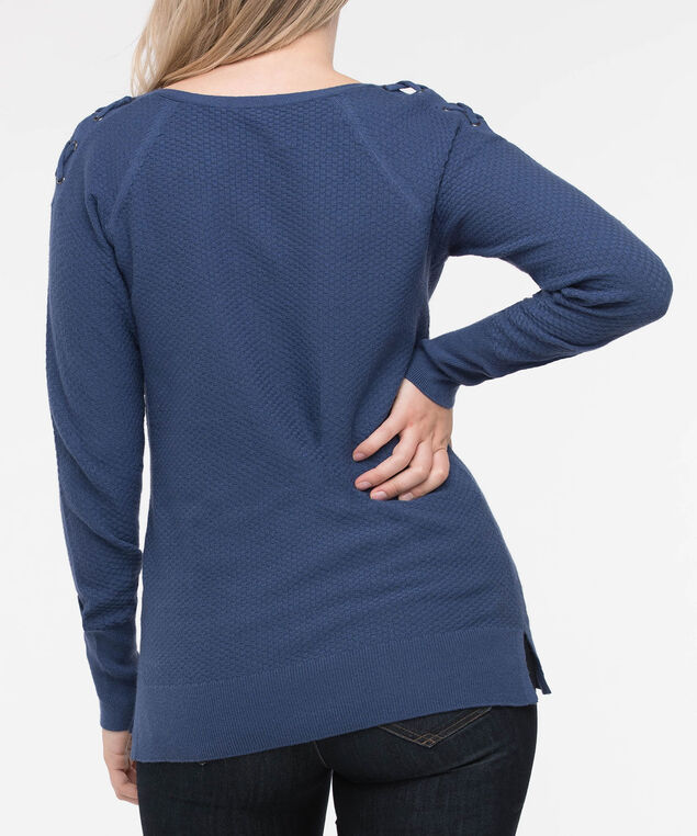 Lace Up Shoulder Boatneck Sweater, Inky Blue, hi-res