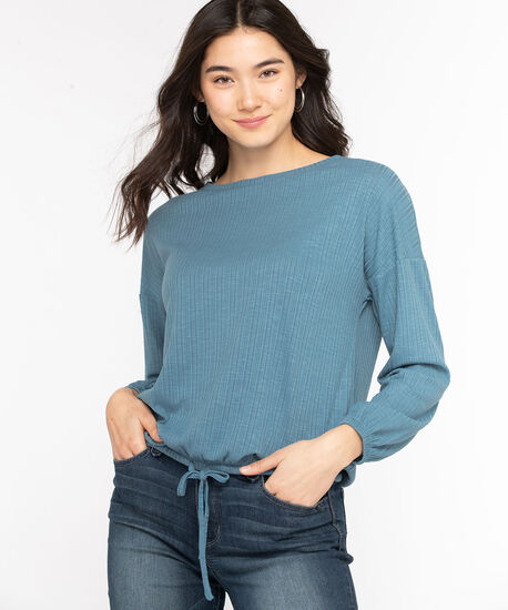 Textured Drawstring Waist Top, Bijou Blue, hi-res