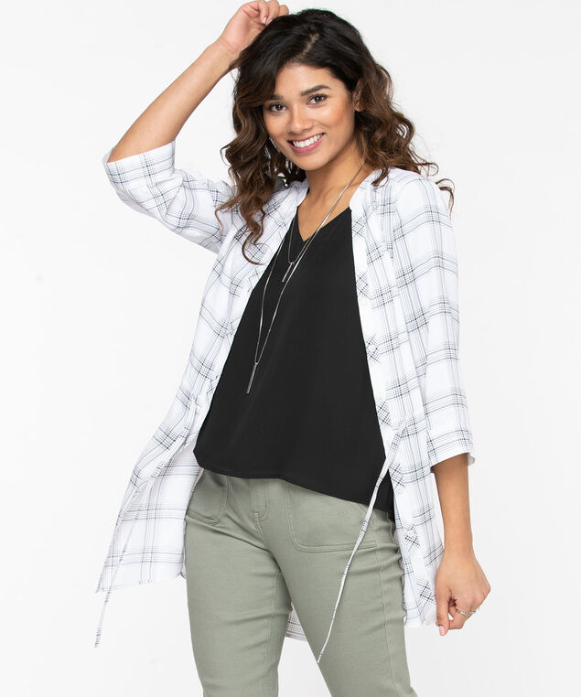 Button Front Tunic Length Blouse, Pearl/Black