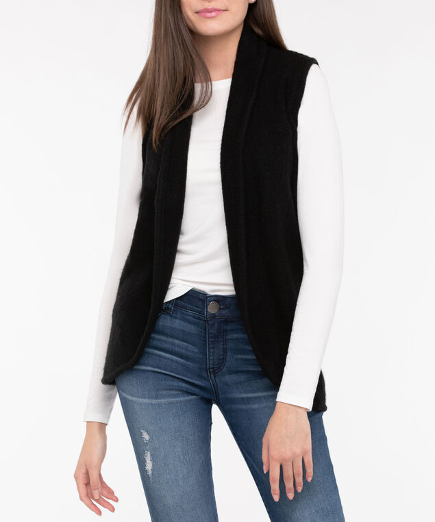 Plush Open Sweater Vest, Black, hi-res