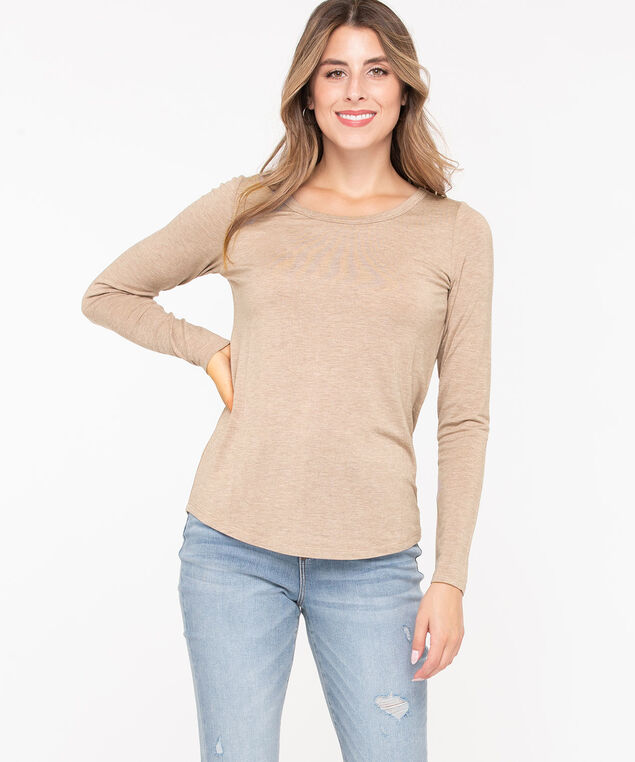 Scoop Neck Layering Essential Top, Oatmeal