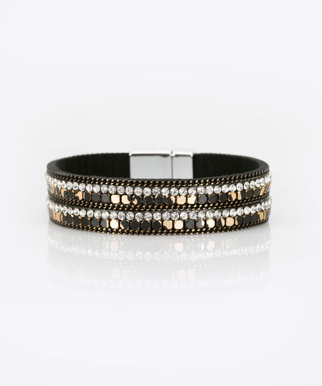 Crystal & Metal Magnetic Wrap Bracelet, Black/Gold, hi-res