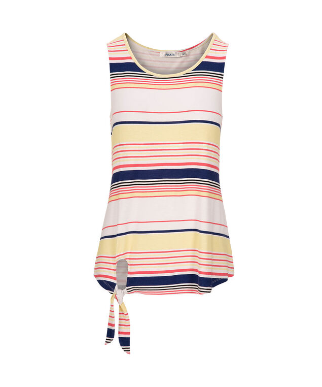 Striped Sleeveless Side Tie Top, White/Navy/Coral/Yellow, hi-res