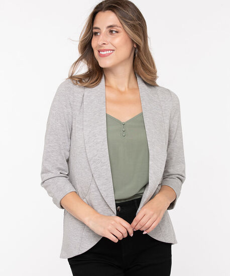 Terry Shawl Collar Cover Up, Light Heather Grey, hi-res
