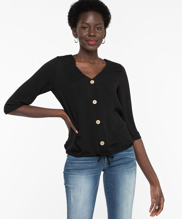 V-Neck Tie Hem Blouse, Black