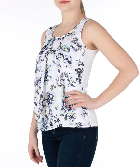 Sleeveless Pleat Neck Top, Pearl/Iced Violet/Black, hi-res